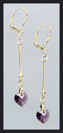 Gold Amethyst Purple Swarovski Crystal Heart Earrings