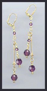 Gold Amethyst Purple Crystal Drop Earrings