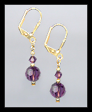 Tiny Gold Amethyst Purple Crystal Earrings