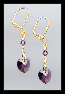 Gold Amethyst Purple Crystal Heart Earrings