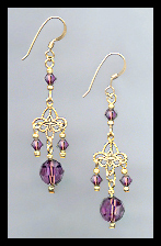 Gold Filigree and Amethyst Purple Crystal Earrings