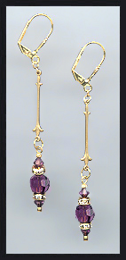 Gold Amethyst Purple Crystal Rondelle Earrings