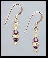 Mini Gold Amethyst Purple Crystal Rondelle Earrings