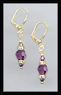 Gold Amethyst Purple Swarovski Rondelle Earrings