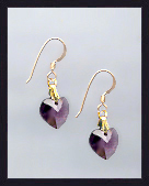 Tiny Gold Amethyst Purple Crystal Heart Earrings