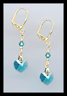 Teal Blue Heart Drop Earrings