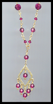 Fuchsia Pink Crystal Necklace