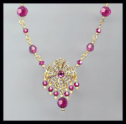 Fuchsia Pink Crystal and Filigree Necklace