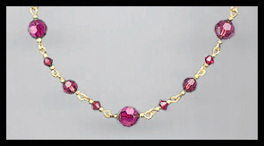 Simple Swarovski Fuchsia Pink Crystal  Necklace