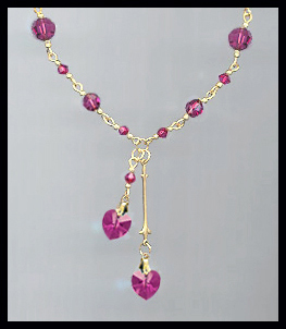 Swarovski Fuchsia Pink Heart Necklace