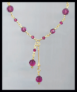 Swarovski Fuchsia Pink Crystal Drop Necklace