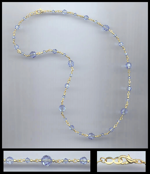 Simple Light Blue Crystal Necklace