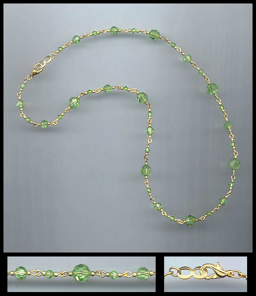 Peridot Green Crystal Necklace