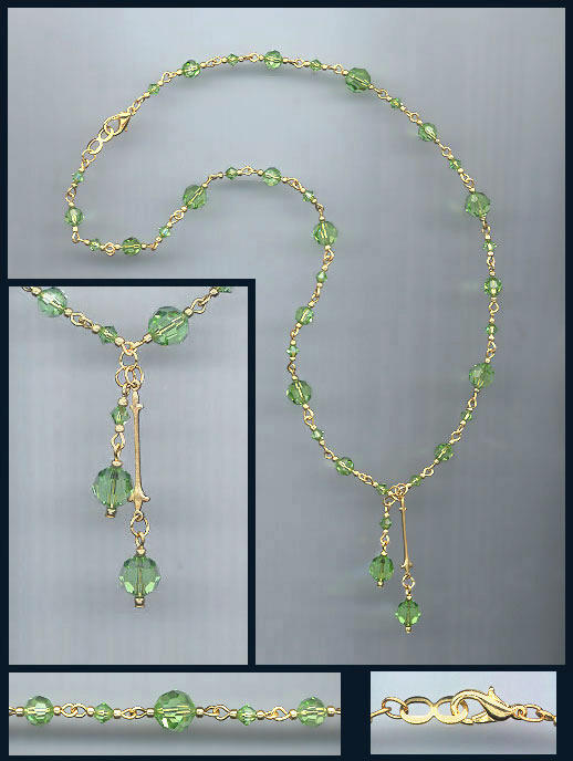 Peridot Green Crystal Drop Necklace