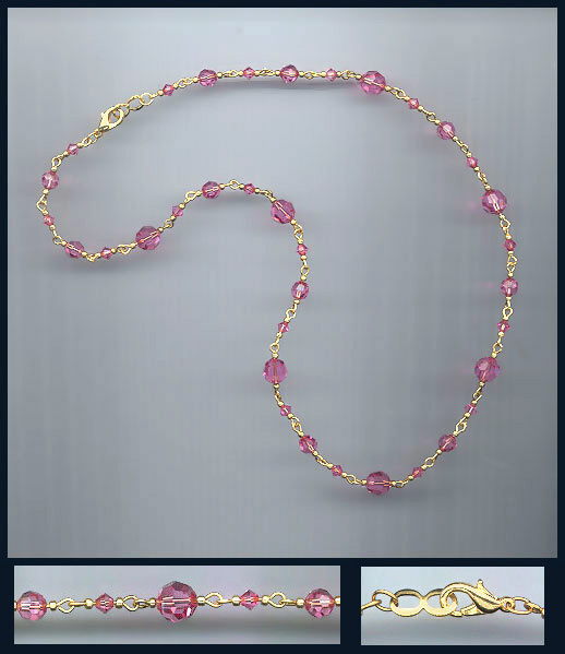Simple Rose Pink Crystal Necklace
