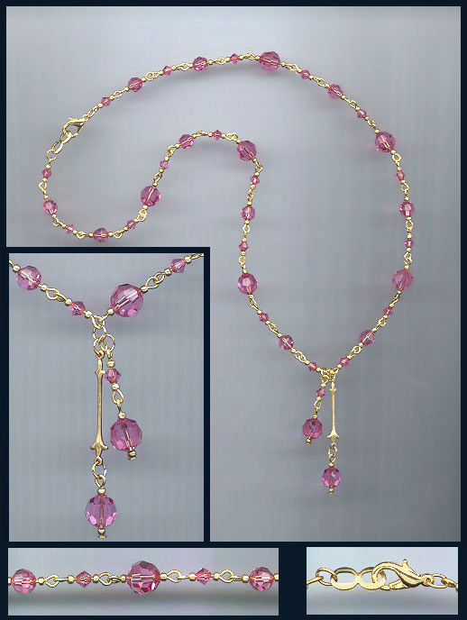 Rose Pink Double Drop Crystal Necklace