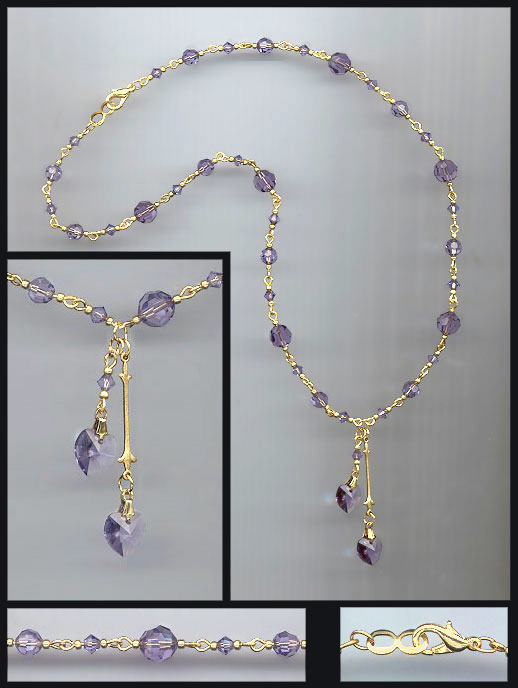 Tanzanite Purple Double Crystal Heart Necklace