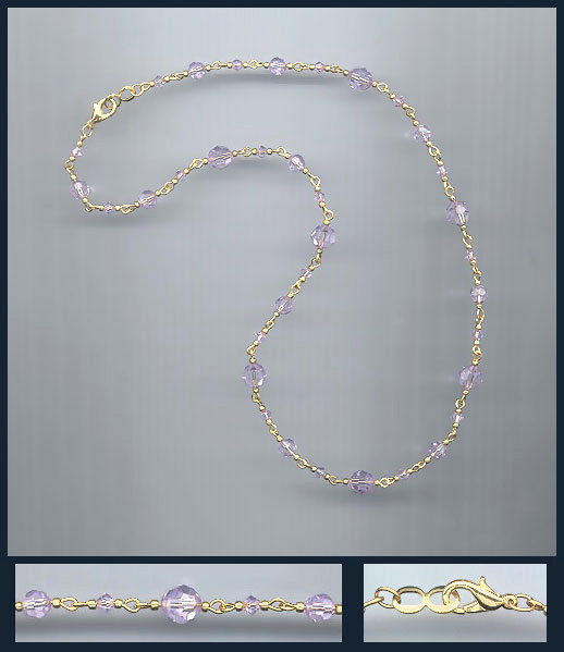 Simple Violet Crystal Necklace