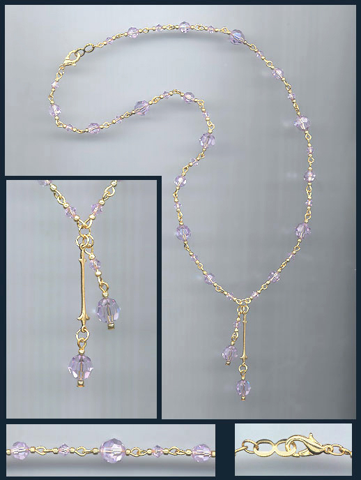 Violet Double Drop Crystal Necklace