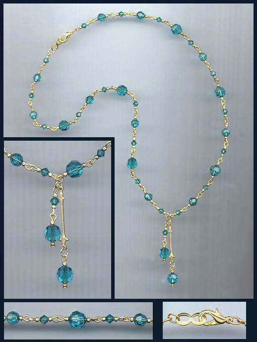 Teal Blue Double Drop Crystal Necklace