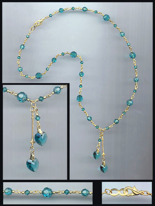 Teal Blue Double Heart Necklace