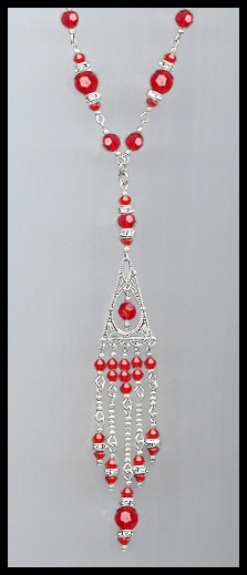 Deco Style Cherry Red Crystal Necklace