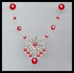 Cherry Red Crystal and Filigree Necklace