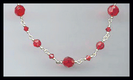 Simple Swarovski Cherry Red Crystal  Necklace