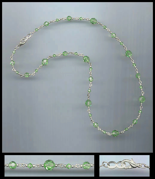 Simple Peridot Green Crystal Necklace