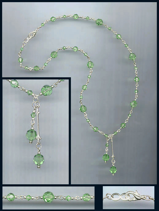 Spring Green Double Drop Crystal Necklace