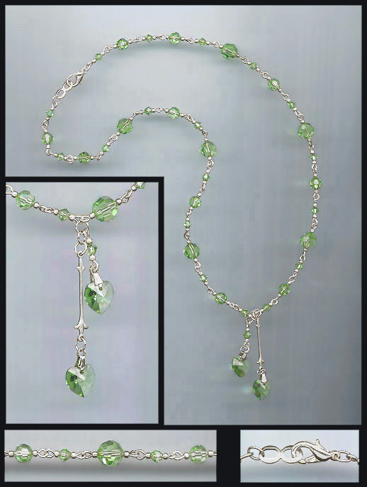 Peridot Green Double Crystal Heart Necklace