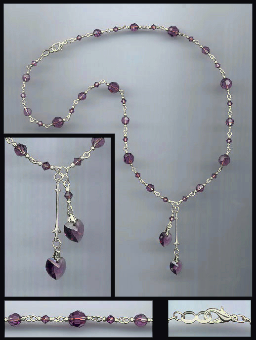 Amethyst Purple Double Crystal Heart Necklace