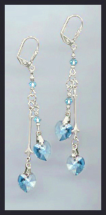 Swarovski Aquamarine Crystal Heart Earrings
