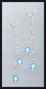Swarovski Aquamarine Crystal Drop Earrings