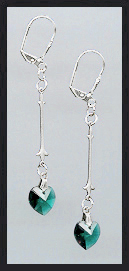 Swarovski Emerald Green Crystal Heart Drop Earrings