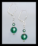Short Swarovski Emerald Green Crystal Earrings