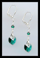 Emerald Green Crystal Heart Earrings