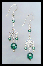 Tiny Swarovski Emerald Green Crystal Filigree Earrings