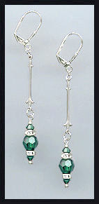Swarovski Emerald Green Crystal Rondelle Earrings
