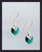 Tiny Emerald Green Crystal Heart Earrings
