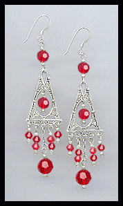 Cherry Red Deco Style Earrings