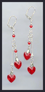 Swarovski Red Crystal Heart Earrings