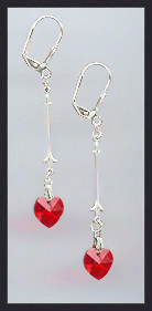 Swarovski Red Crystal Heart Drop Earrings