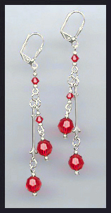 Swarovski Red Crystal Drop Earrings