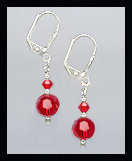 Short Swarovski Red Crystal Earrings