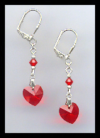 Red Crystal Heart Earrings