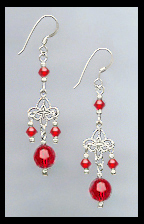 Tiny Swarovski Red Crystal Filigree Earrings