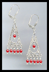Deco Style Cherry Red Earrings