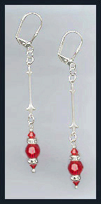 Cherry Red Crystal & Rondell Earrings