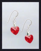 Tiny Red Crystal Heart Earrings